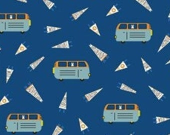 Around the Campfire Campervan by Lemonni for Figo Fabrics Modern Quilting and Sewing Cotton Fabric Material Mountains Moons Trees