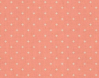 Ruby Star Society Add It Up Melon by Alexia Abegg Quilt Fabric Coral Pink Heirloom Modern New Fabric Moda Geometric Plus Sign Natural Cotton