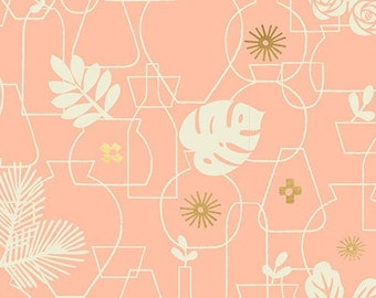 Ruby Star Society Whatnot Potted in Peach Rashida Coleman Hale Metallic Gold Quilt Fabric Modern New Quilt Fabric Moda Plant Fabric Leaves