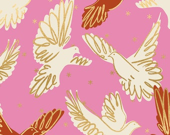 Ruby Star Society Rise Fly in Kiss Metallic by Melody Miller Modern New Quilt Fabric Bird Quilt Fabric Moda Fabrics Metallic Gold