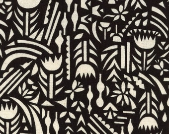 Rough Cuts by Ellen Baker Black and White Canvas Floral Fabric - Made in Japan Kokka - Lightweight Cotton Canvas - Cotton Fabric