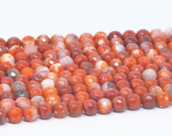 """Red Fire Agate Beads Natural Gemstone Beads size 8mm 10mm 12mm Red Agate Beads Natural Stone 1 Full Strand 15"""" High Quality"""
