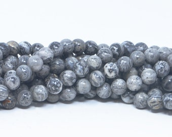Smooth Gray Silver Picasso Jasper Beads Natural Gemstone Round Loose 8mm 10mm High Quality in Smooth Round Full 15 inch Strand