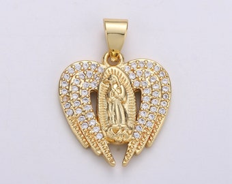 6 Angel Wing Charms Shiny Gold Tone Double Heart Pendants Filigree Religious