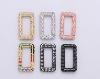 Gold Silver Black Rose Gold Carabiner Snap Lock Supply for heavier chain connector Charm 5PCS Micro Pave Heart Clasp