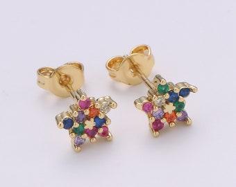 3 colored stud earrings,evning studs earrings studs earrings for night out Multi colored studs earrings,star shape stud earrings