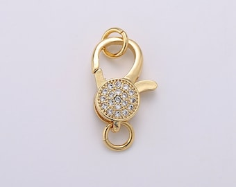 Large Gold Diamond Lobster Clasp Fastener Hook Micropave Micro Pave Diamond Style CZ Cubic Zirconia Gold Necklace Bracelet Silver Black ADEL