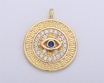 Evil Eye Flower Charm MTE374 Gold Plated Findings Flower Pendant Clover Pendant Bracelet Charms 13x18mm 24k Shiny Gold Flower Charms