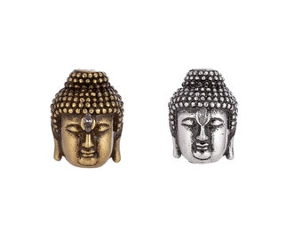 7x6MM Antique Silver Tone Spacer Beads Buddha Head 20 Pcs Bulk Lot Options 63351-2395
