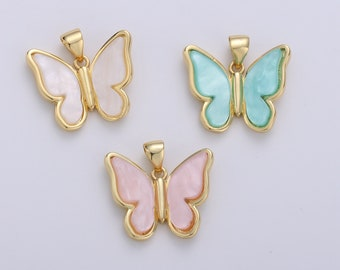 Butterfly Charm White Wings Animals Charm Flowers Enamel Charm Garden Fairy