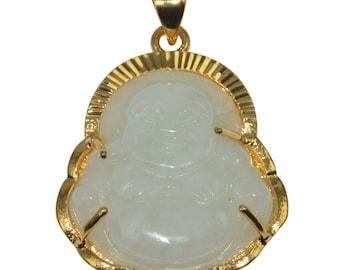Jade meaning etsy 1pcs genuine white jade natural wisdom meaning gold filled gemstone necklace jewelry pendant buddha design buddhism religion aloadofball Images