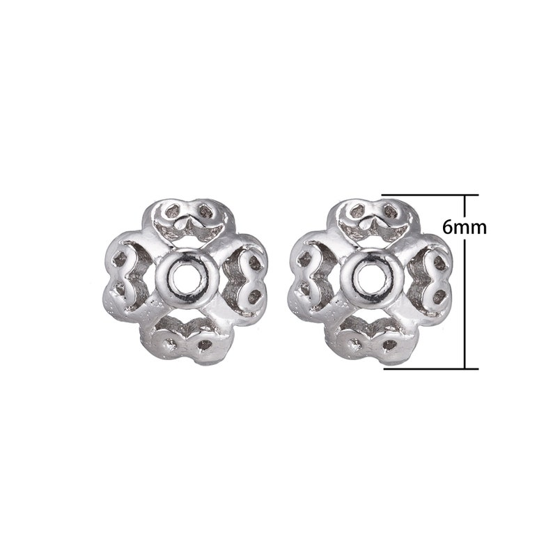 Swirl Style Bead Topper White Gold Filled Flower Bead Cap Bead Making for Bracelet Necklace Supplies Findings Jewelry Making