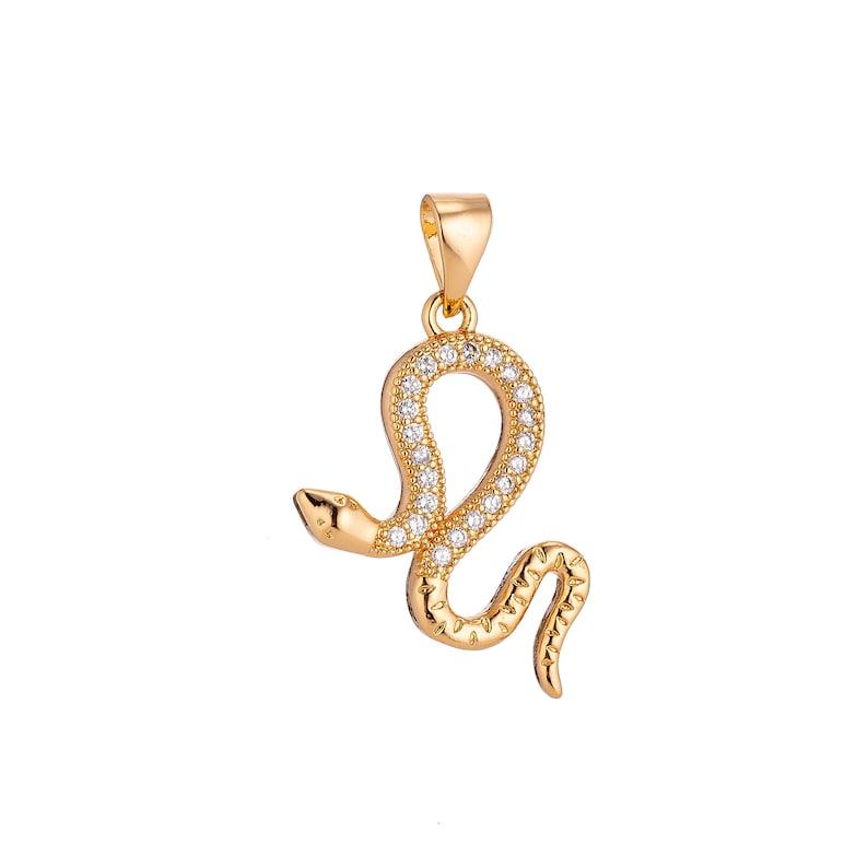 gold chain necklace pave evil eye charm king cobra snake charm 22k gold filled snake charm 14k gold filled evil eye spiritual