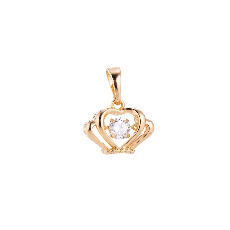 Spinner Series Dainty 18k Gold Fill Crown Queen Charm w Spin Stone Crystal Cubic Zirconia Necklace Pendant for Jewelry Making Supplies