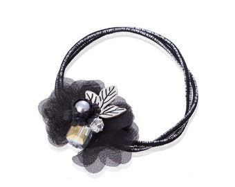 3pcs Black Rose White Leaf Cloth Flower Hair Ponytail Ribbon Accessory Bridal Party Jewelry Crystal Stones Freshwater Pearl For Styled Hair
