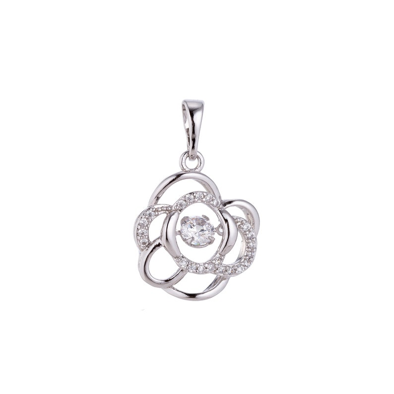 Unique Crystal Floral White Gold Filled Rose Flower Cubic Zirconia Necklace Pendant Charm Bails Findings for Jewelry Making