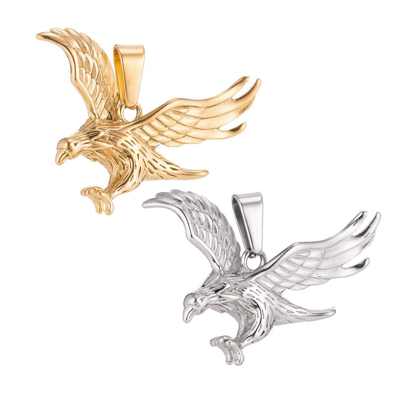 24K Gold Filled Stainless Steel Silver Eagle Charm Pendant w Bails Findings for Earring Necklace Jewelry Making Supplies