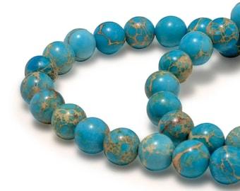 "Turquoise Stone, Ocean Deep Blue Imperial Stone size 8 / 10 mm, Sea Sediment Jasper Natural Round Gemstone, 15"" Full Beads Strand, Wholesale"