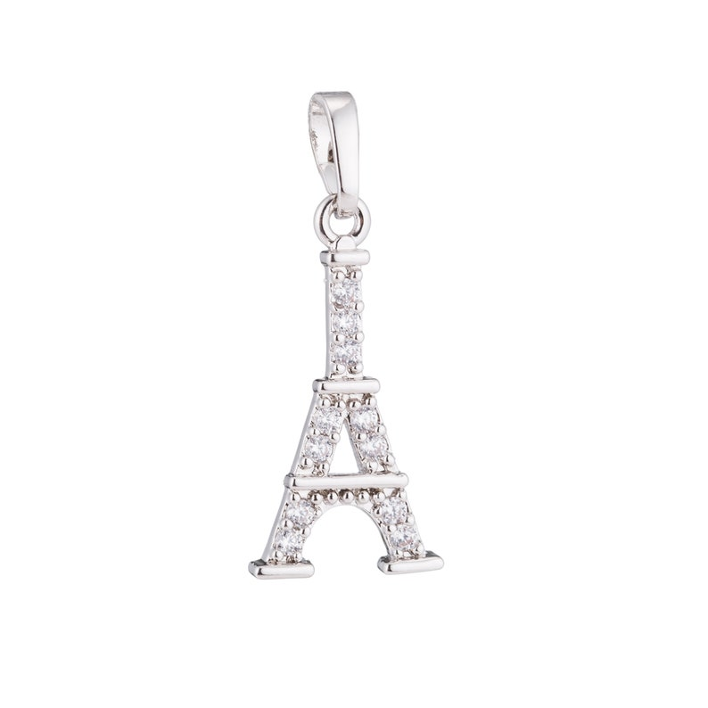 Paris Love is in the Air Romance Lover Cubic Zirconia Necklace Pendant Charm Bead Bails Findings for Jewelry Making 1pc Silver Eiffel Tower