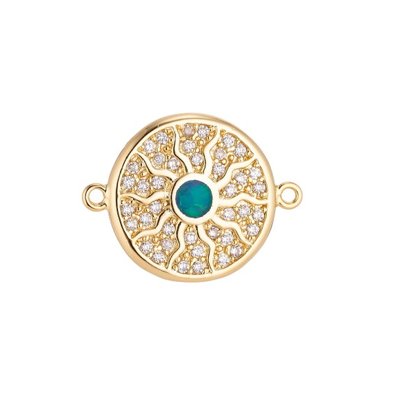 18K Gold Filled Luxurious Sun Symbol Medallion Green Crystal Cubic Zirconia  Bracelet Charm Bead Finding Connector For Jewelry Making 7e78161a7c33