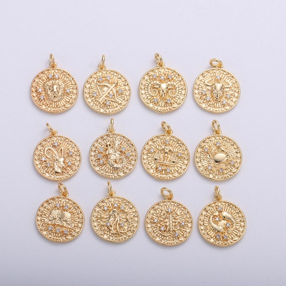 Stainless Steel Gold Horoscope Charm Pendant with Bails Unique Dainty Zodiac Rustic Necklace Findings for Jewelry Making