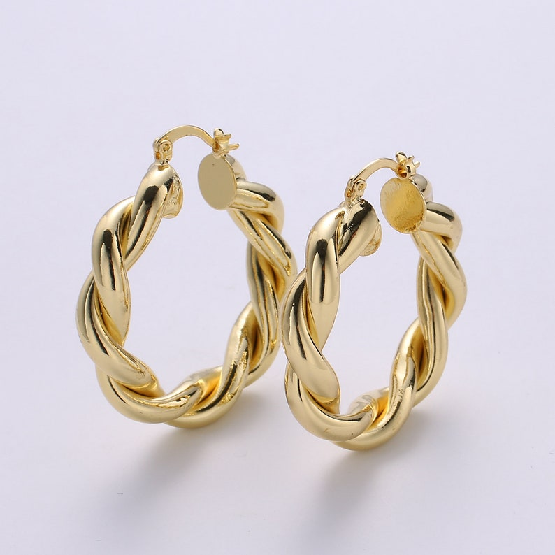 Cassidy Gold Rope Hoops Twisted Earrings Statement Hoops Twist Handmade Jewelry Women Gift Ideas for Her Birthday Gifts Artisan Handmade