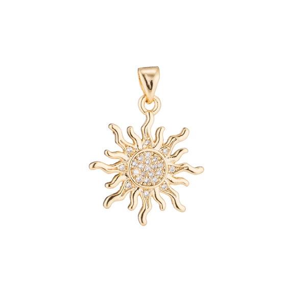 Bright Polished Sun Face Moon 14k Tri Colored Tone Gold Solar Pendant Necklace