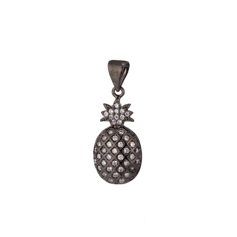 Nature Lover Garden DIY Cute Cubic Zirconia Necklace Pendant Charm Bead Bails Findings for Jewelry Making 1pc Black Cute Pineapple Fruit