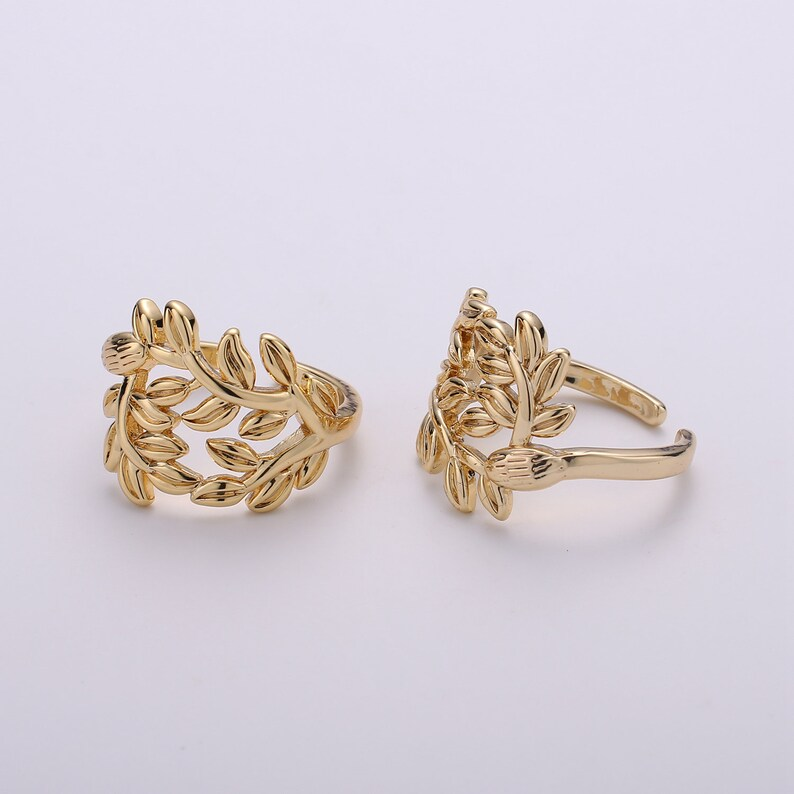 1x Gold Olive Ring Stackable Ring Thick Gold Ring Olive Branch Ring adjustable ring Statement Ring Tree Branch Dome Ring