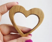 Heart-teether-2, natural, eco-friendly - made from OAK