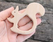Squirrel-teether, natural, eco-friendly - Natural Wooden Toy - Teether - Handmade wooden teether - squirrel-1