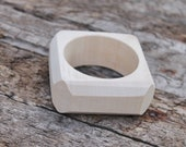 35 mm Wooden square bangle unfinished with cut corners  - natural eco friendly - Linden tree - 35 mm