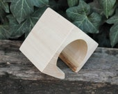 70 mm BIG Wooden square bangle unfinished with one cut corner- natural eco friendly - Linden wood