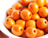 13 mm Natural wooden orange handpainted beads 10 pcs - eco friendly r13mm