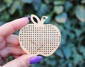 SET OF 5 - Apple Cross stitch pendant blank - blanks Wood Needlecraft Pendant - wooden cross stitch blank APPLE-ODV45