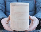 120 mm x 170 mm round unfinished wooden box - with cover - natural, eco friendly - 120 mm diameter