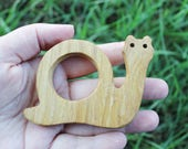 Snail-teether, natural, eco-friendly - Natural Wooden Toy - Oak Teether - Handmade wooden teether