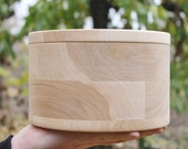 200 mm x 120 mm - Round unfinished wooden box - with cover - natural, eco friendly - 200 mm diameter, 125 mm height
