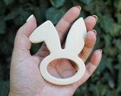 Rabbit-head-teether, natural, eco-friendly - Natural Wooden Toy - Teether - Handmade wooden teether