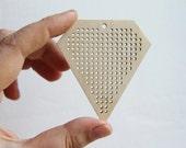 SET OF 5 - Triangle Cross stitch pendant blank - blanks Wood Needlecraft Pendant, wooden cross stitch blank TRIANGLE-ODV33