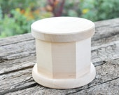 130 mm x 100 mm round octahedral unfinished wooden box - with cover - natural, eco friendly - 130 mm diameter
