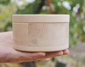 120 mm x 80 mm - Round unfinished wooden box - with cover - natural, eco friendly - 120 mm diameter - B103-120