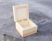 Square unfinished wooden box - 90х90x60 mm- with cover on hinges- natural, eco friendly -  B103-90x90x60
