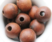 25 mm Wooden textured beads 50 pcs with big hole - 8 mm - natural, ECO-FRIENDLY beads - boiled in olive oil