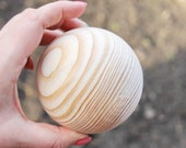 85 mm big wooden bead (wooden ball) WITHOUT hole - natural eco friendly - spruce tree