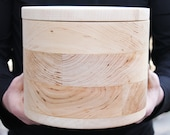 200 mm x 170 mm round unfinished wooden box - with cover - natural, eco friendly - 200 mm diameter, 170 mm height