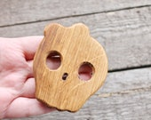 Scull-girl - OAK-teether, natural, eco-friendly - Natural Wooden Toy - Oak Teether - Handmade wooden teether