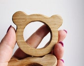 Bear-teether, natural, eco-friendly - Natural Wooden Toy - Oak Teether - Handmade wooden teether
