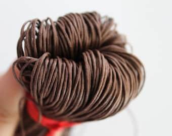 Brown (medium) Wax Cotton Cord 1 mm 10 meters - 10,9 yards or 32,8 feet - DZ-2