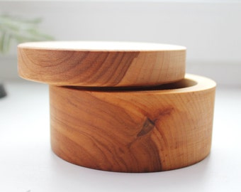 Round wooden box boiled in olive oil - with cover - natural, eco friendly - 100 mm diameter